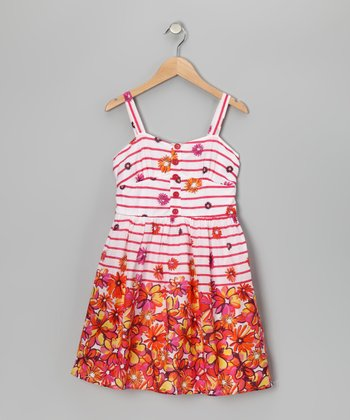 Fuchsia & Yellow Voile Stripe Floral Dress