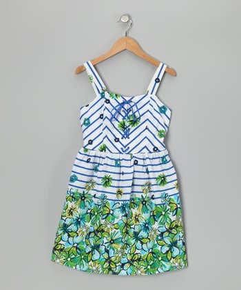 Blue & Lime Stripe Floral Dress
