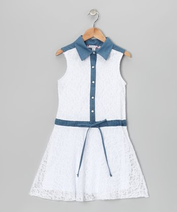 White & Denim Lace Collar Dress