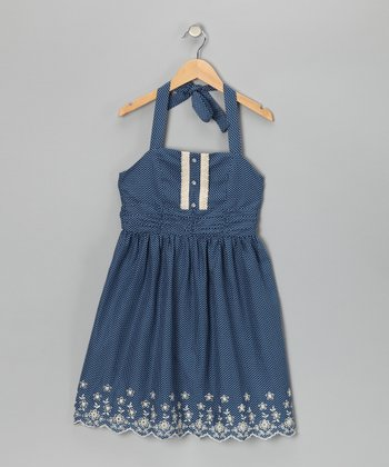 Denim & White Embroidered Halter Dress