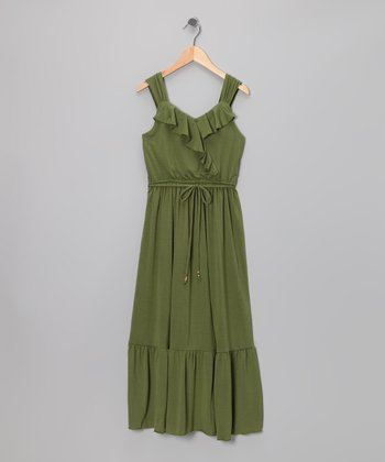 Olive Ruffle Maxi Dress