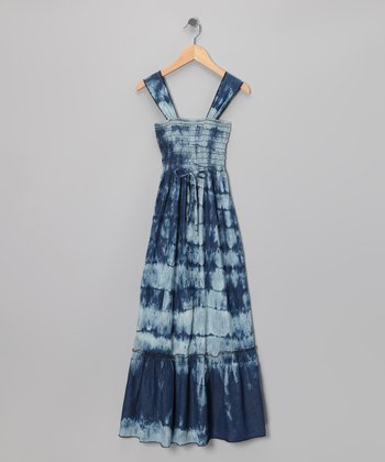 Stone Blue Tie-Dye Maxi Dress