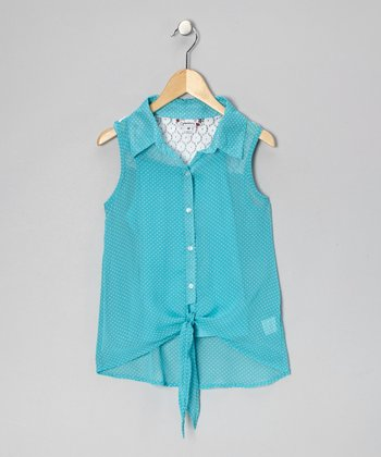 Aqua Pin Dot Tie Button-Up