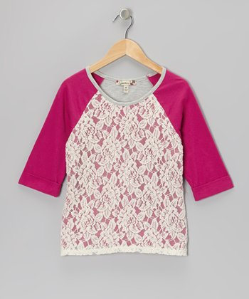 Fuchsia Lace Raglan Top