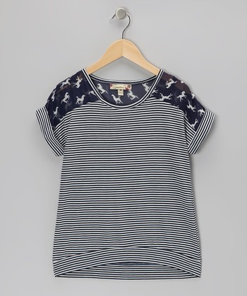 Navy & Ivory Horse Stripe Top