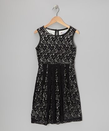 Black & Ivory Floral Lace Dress - Girls