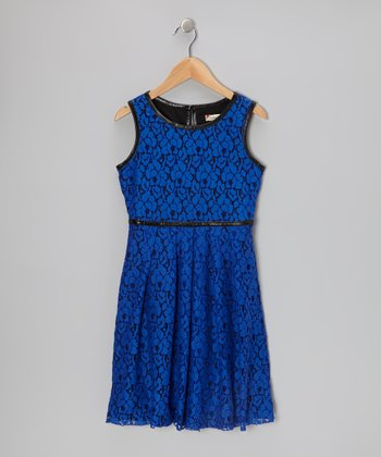Royal Blue & Black Floral Lace Dress - Girls
