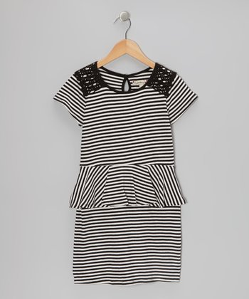 Black & Ivory Stripe Peplum Dress - Girls