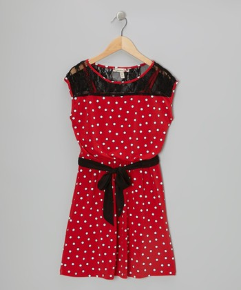Red & Black Polka Dot Lace Dress