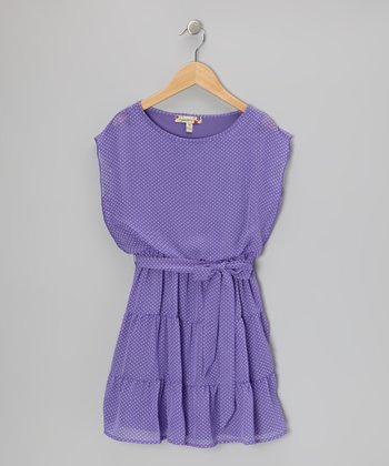 Purple Polka Dot Front-Tie Dress