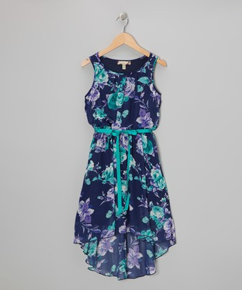 Navy & Purple Floral Hi-Low Dress