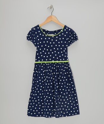 Navy & White Polka Dot Cap-Sleeve Dress - Girls