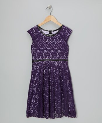 Eggplant Floral Lace Dress - Girls