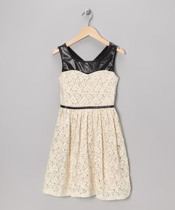 Cream & Black Floral Lace Dress - Girls