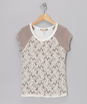 Brown Lace Stripe Raglan Top