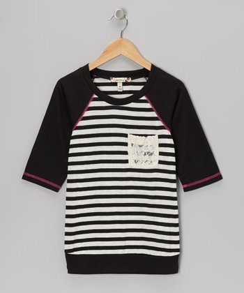 Black Stripe Raglan Top - Girls