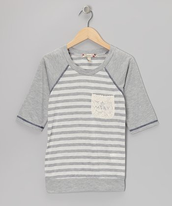 Gray Stripe Raglan Top - Girls