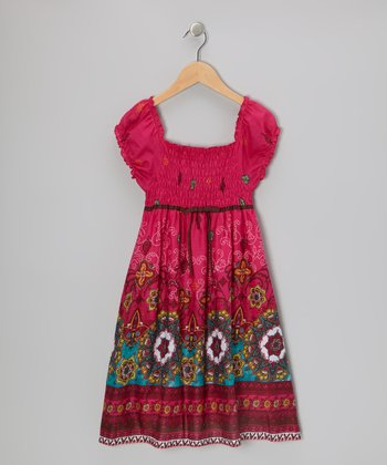 Fuchsia & Brown Mystical Star Dress