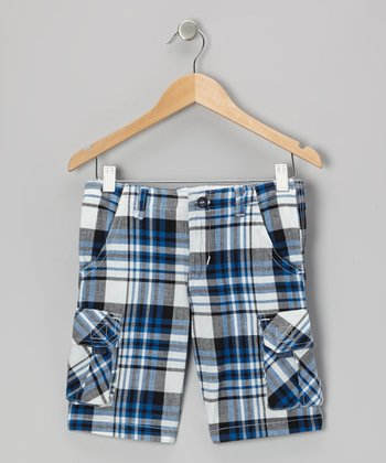 Blue Plaid Cargo Shorts - Toddler & Boys