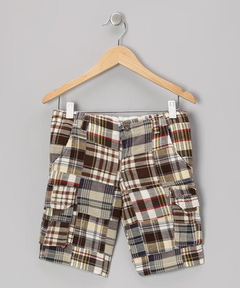 Brown Plaid Cargo Shorts - Toddler & Boys