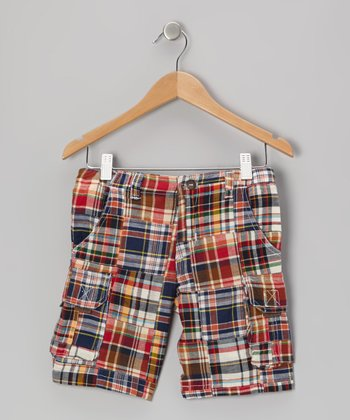 Blue & Red Plaid Cargo Shorts - Boys