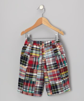 Olive Plaid Patchwork Shorts - Infant, Toddler & Boys
