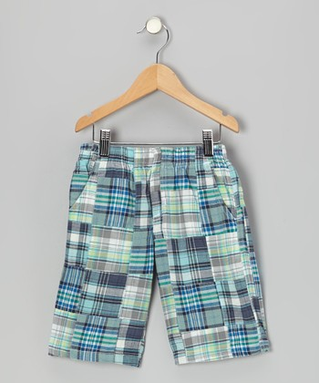 Turquoise Plaid Patchwork Shorts - Toddler & Boys