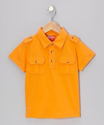 Orange Peel Epaulet Polo - Infant & Boys