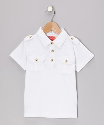 White Epaulet Polo - Toddler & Boys