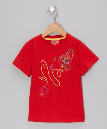 Red Headphone Tee - Toddler & Boys