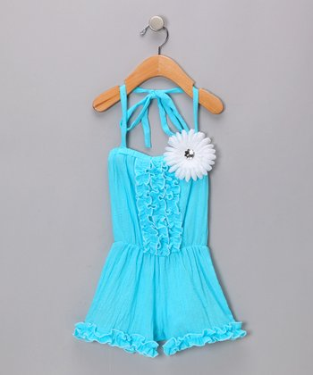 Turquoise Ruffle Flower Halter Jumper - Toddler & Girls