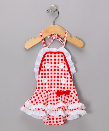 Red & White Gingham One-Piece - Infant & Girls