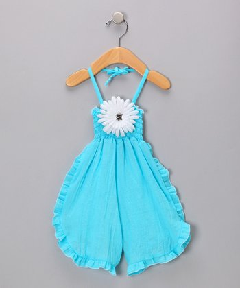 Turquoise Flower Smocked Halter Jumpsuit - Infant