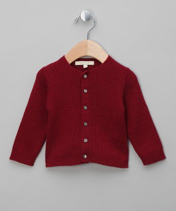 Burgundy Gerhard Merino Cardigan - Infant