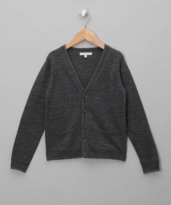 Gray Melange & Chestnut Bernhard Wool Cardigan - Boys