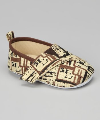 Beige & Black Sketch Slip-On Shoe