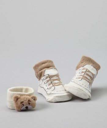 White & Brown Sneaker Slipper Shoes & Wristband