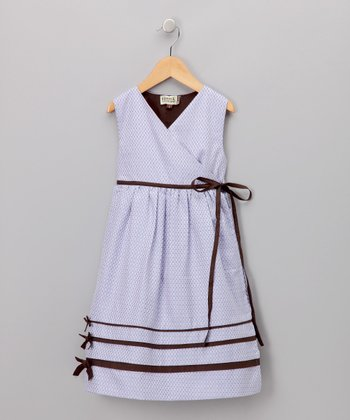 Lilac & Brown Wrap Dress - Infant & Toddler