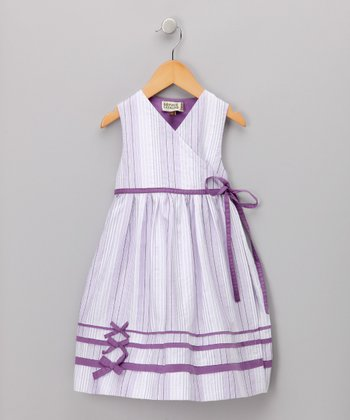 White & Purple Wrap Dress - Toddler