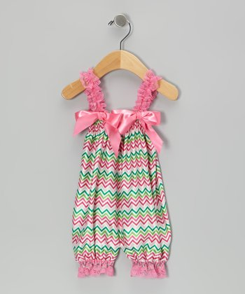 Green & Hot Pink Zigzag Bubble Romper - Infant & Toddler
