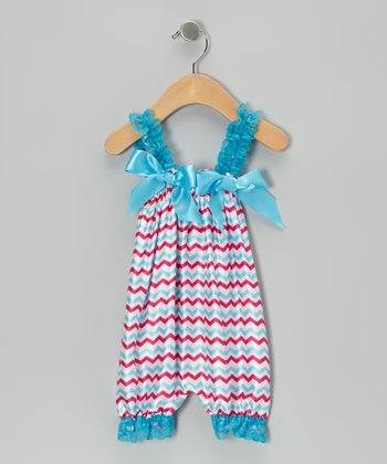 Turquoise & Hot Pink Zigzag Bubble Romper - Infant & Toddler