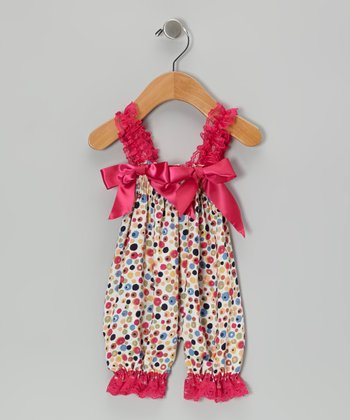 Hot Pink Rainbow Flowers Bubble Romper - Infant
