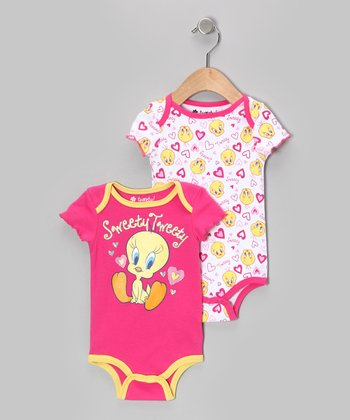 Pink & Yellow Tweety Bodysuit Set - Infant