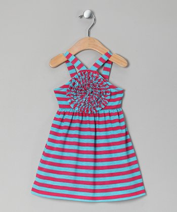 Turquoise Stripe Blooming Rose Dress - Toddler & Girls