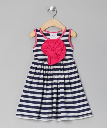 Navy & White Stripe Peony Dress - Girls