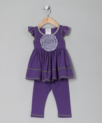 Purple Peony Tunic & Leggings - Girls