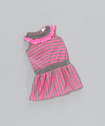 Heather Gray & Pink Stripe Doll Outfit