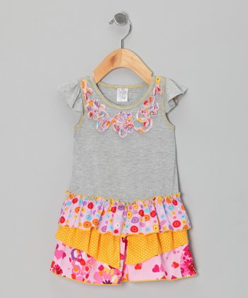 Gray & Tangerine Drop-Waist Dress - Infant & Toddler
