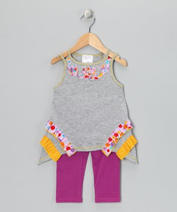 Heather Gray Ruffle Tunic & Magenta Leggings - Toddler & Girls