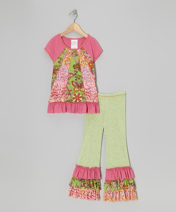 Pink Tunic & Green Ruffle Leggings - Toddler & Girls